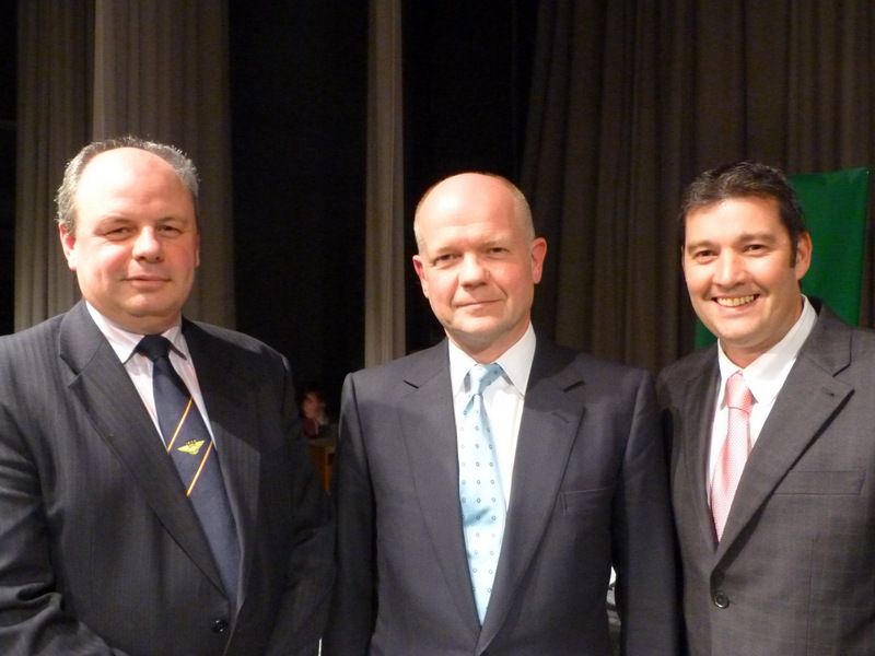 PRAISE: David Mollard, chairman of governors at Bedale High School, William Hague MP, and Mike Mills, deputy headteacher