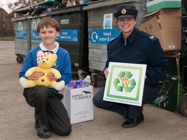 HELPING HAND: James Prest and his mother Corporal Jo Jones at the RAF Leeming recycling centre