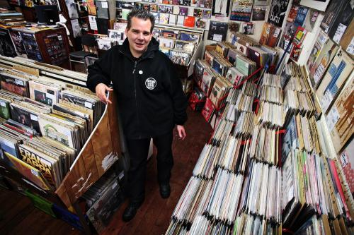 Tom Butchart in his Stockton record shop Sound it Out Records.