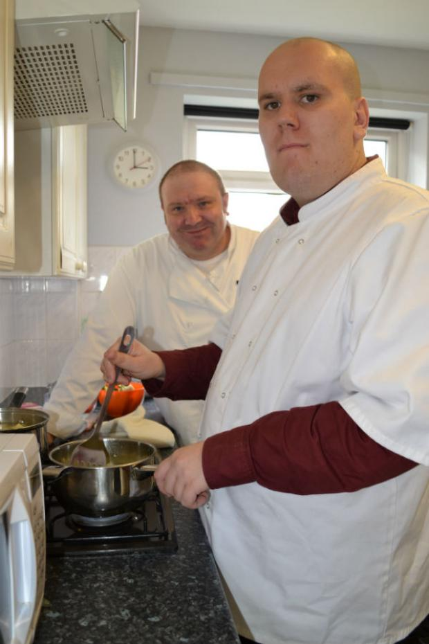 Chef Karl Mellor and service user Wayne Roth.