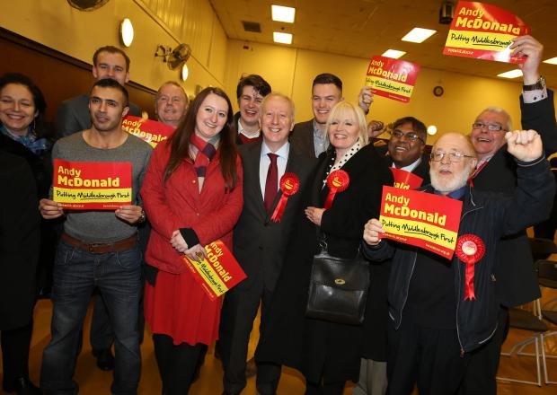 Darlington and Stockton Times: Labour MP Andy McDonald celebrates his victory last night