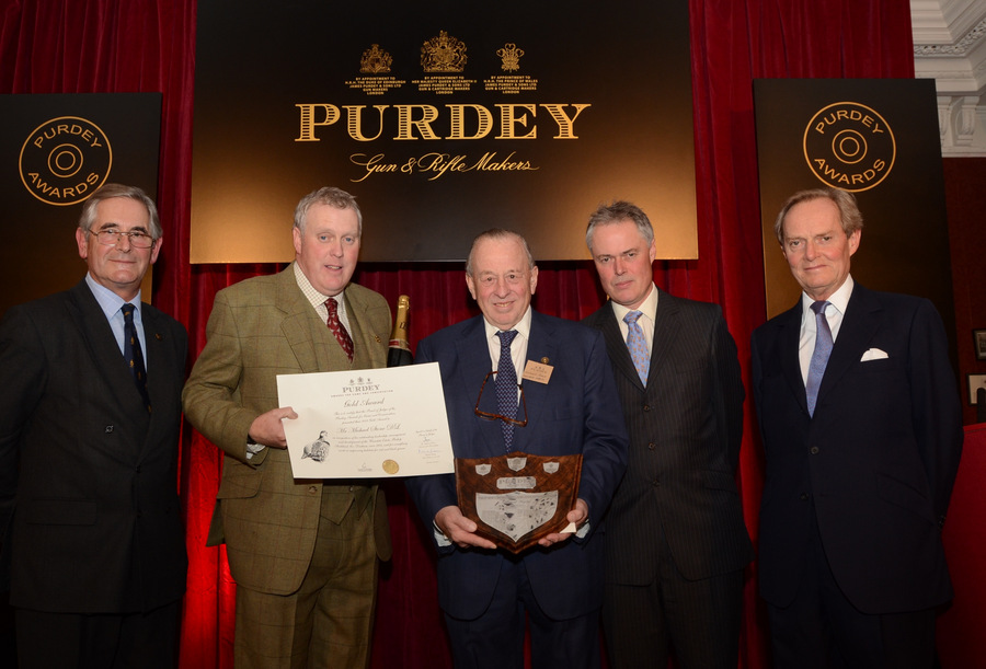 HONOUR: From left, Richard Purdey with Nick Walmsley and Michael Stone; Jonathan Young and Lord Douro
