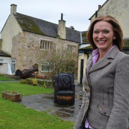 Paula Forrest outside Barforth Hall Manor House.