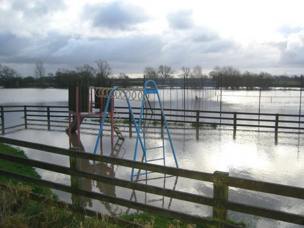 Darlington and Stockton Times: NO PLAY TODAY: The park at Appleton Wiske flooded