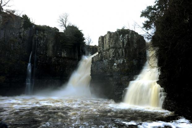FLOWS: Water flows over High Force waterfall in Middleton-in-Teesdale as rivers across the county burst their banks
