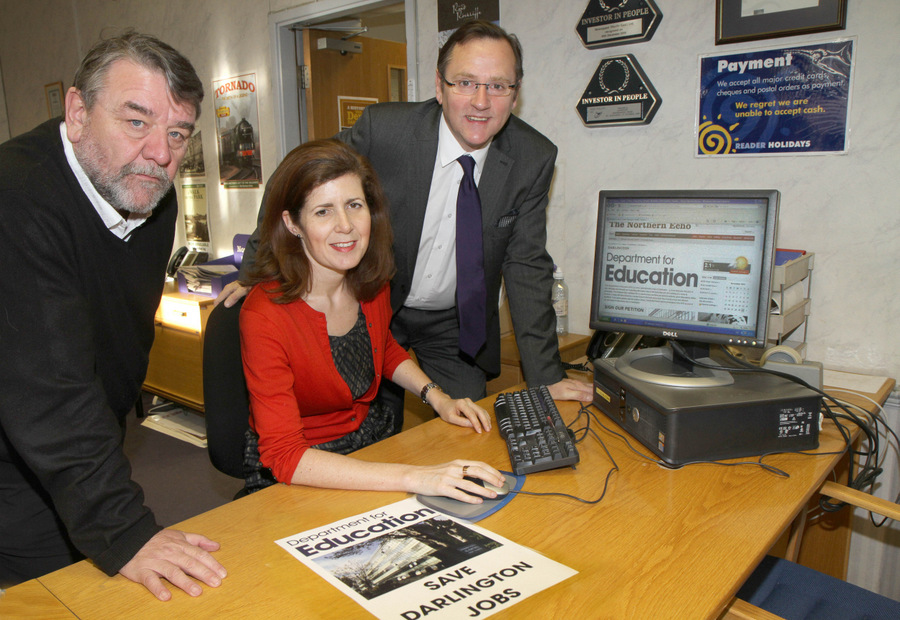 Councillor Bill Dixon, Jenny Chapman MP and Phil Wilson MP signing the online petition to save education jobs at Darlington's Mowden Hall