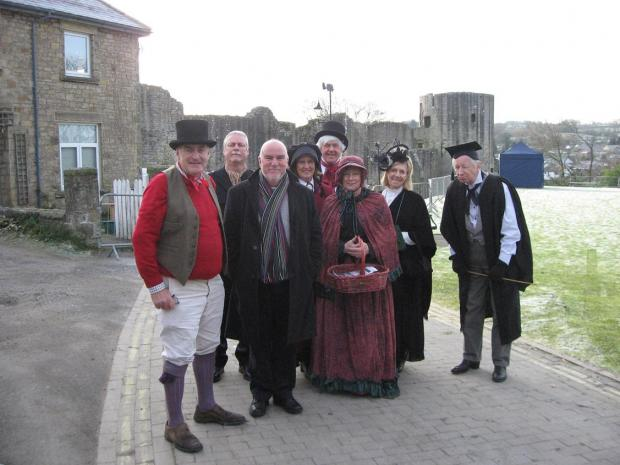 TV presenter John Grundy with members of the Dickens in Teesdale Group, who organised a son et lumiere show telling the story of Dickens' visit to Barnard Castle in 1838