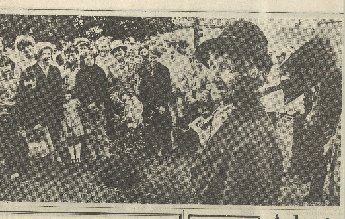 CENTENARY CELEBRATIONS: From the Northern Echo in 1978, Jane Liddle plants a tree on Cockfield green to mark her 100th birthday.