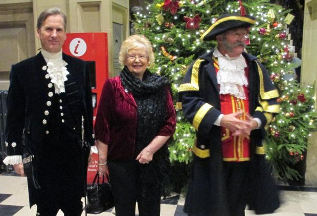 LIGHTING UP: Durham High Sheriff with Heather Scott, chairman of the Friends of Bowes Museum and town crier Ian Kirkbride.
