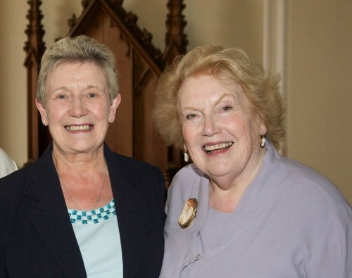 KEY VOLUNTEER: Norma Bain, left, with TV agony aunt Denise Robertson, who presented her award