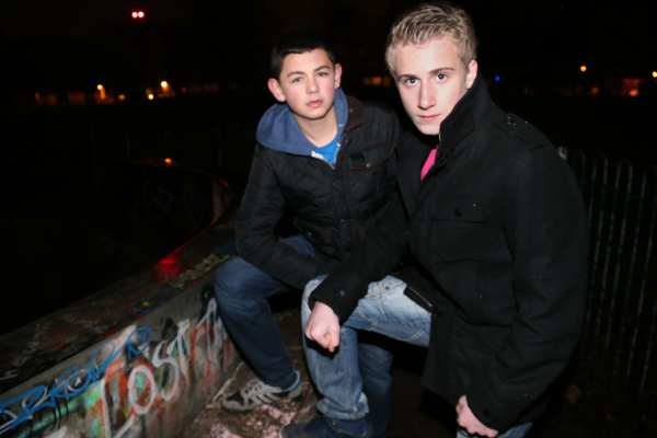 Stefan Tunstall, 13, left and Sean Ramsden, 14, at South Park, Darlington, where they rescued a woman who had fallen off her mobility scooter.