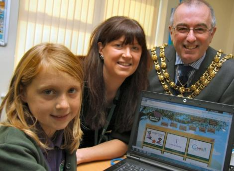 West Park Academy's new ICT Suite officially opened by the mayor of Darlington Paul Baldwin pictured with chair of the friends of the school Claire Heron and pupil Millie Moss-Wilkin, seven, of Darlington