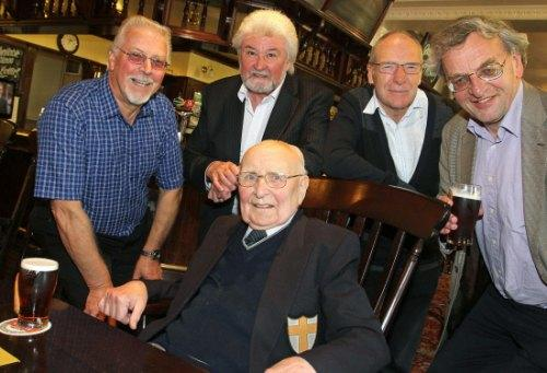 Darlington and Stockton Times: GREAT BOSS: Pictured on his 90th Birthday last year is Charles Westberg (centre) with former Northern Echo colleagues Mel Attrill, Brian Clough, Mike Gibb and Mike Amos
