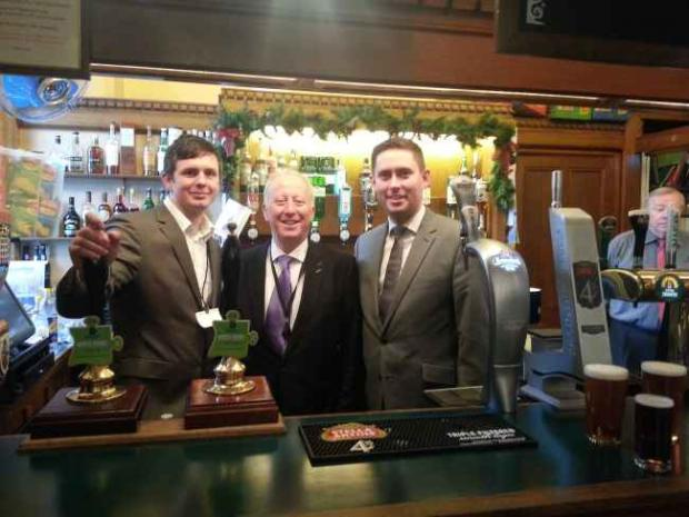 Brewer Matt Power with Middlesbrough MP Andy McDonald and Middlesbrough South and East Cleveland MP Tom Blenkinsop