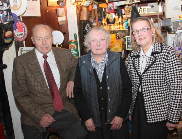 MEETING: Ralph Daykin, Pat Daykin and Avril Douglas in the bar at the Victoria Arms at Worton