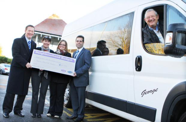 APPEAL BOOST: Coun Neil Harrison, hospice manager Paula Wood, Helen Pinkney, from the Bishop Auckland and Shildon Area Action Partnership, Coun Sam Zair and volunteer driver Phil Laughton receive a £20000 donation towards the new minibus