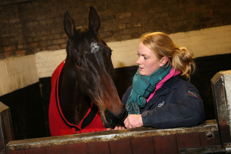 NEW HOME: Emma Hawksby with a retired racehorse