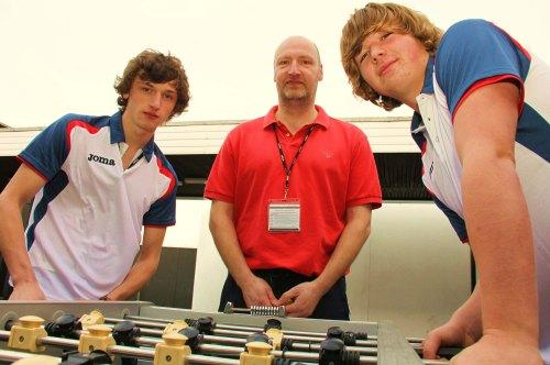 TABLE GOAL: UK number one and two Matthew Warr, left, and Callum Oakes, with GB junior team coach Darren Warr at Darlington School of Mathematics and Science