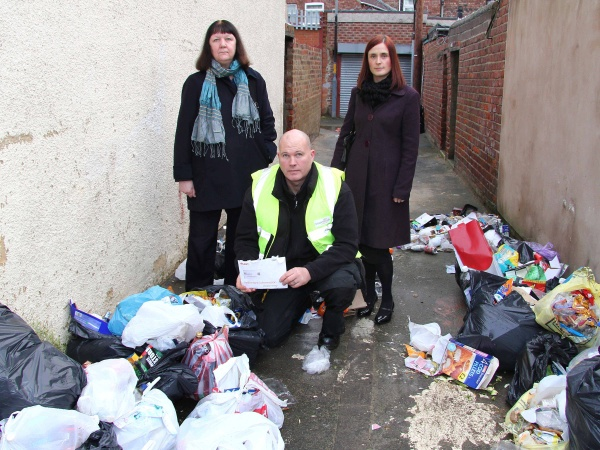 Councillor Julia Rostron, Environmental Enforcement Officer Lee Hooker and Principal Environmental Protection Officer Laura Turvey