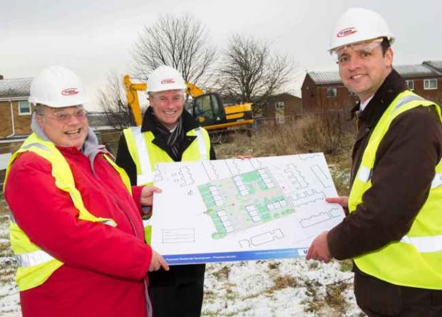 Peter Olsen, Housing Hartlepool chair, Damian Southworth, of Gus Robinson Developments and Mayor of  Hartlepool Stuart Drummond