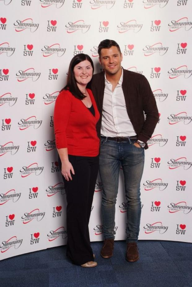 WEIGHT LOSS: Slimming World leader Fiona Jones, who runs meetings in Darlington and Stockton, meets TOWIE star Mark Wright at the recent Slimming World awards.