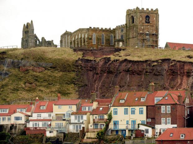 The landslip in Whitby exposed some graves at St Mary's Church
