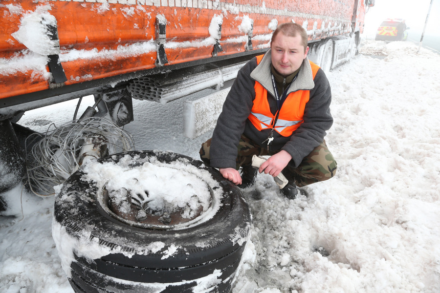 MECHANICAL HITCH: Polish lorry driver Michael Chalubiec on the A66