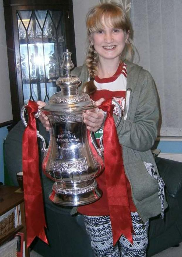 Eleven year old Laura Donnelly from Coulby Newham with The FA Cup