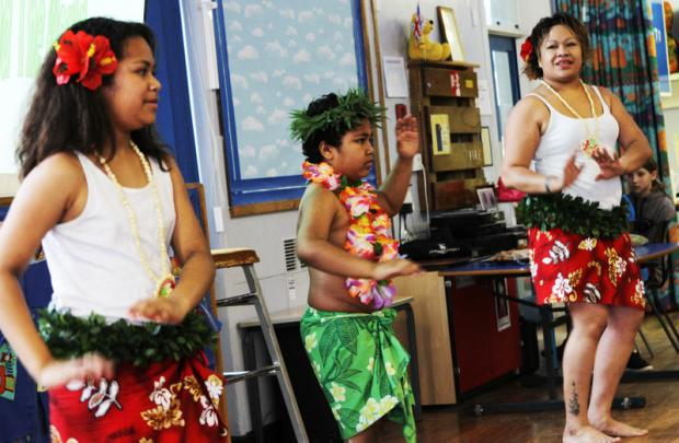 FUN TIME: Fijian Hula Dancers visited Carnagill Community School, Catterick, as part of Planet Earth Day