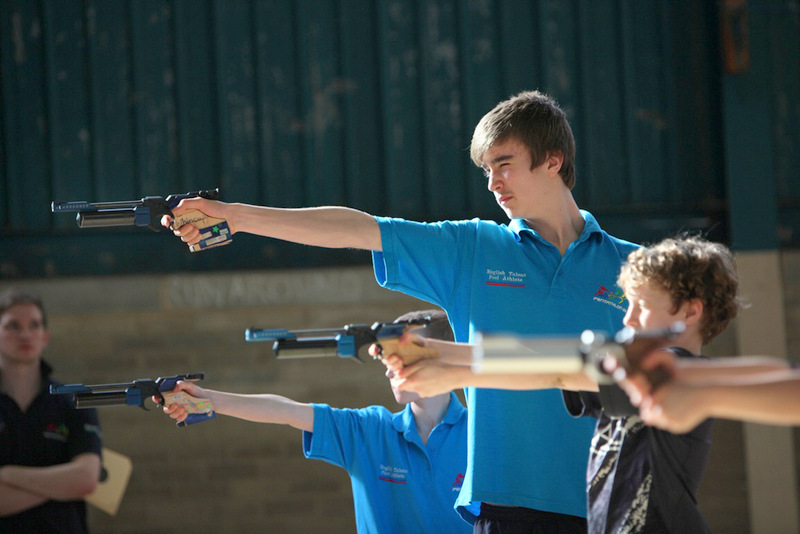 ON TARGET: Callum Hall practices his shooting as part of his penthathlon training