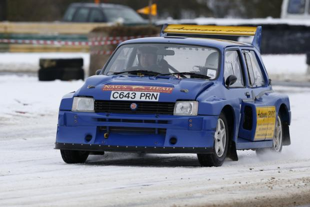 Darlington and Stockton Times: SETTING THE PACE: Jack Frost Stages Rally winners Chris Wise and Tracey Taylor West tackle Tower Bend at Croft circuit last weekend