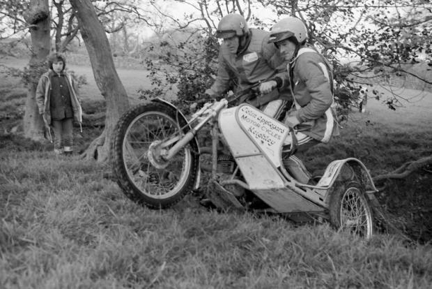 TALIAN JOB: Barry Watson and Ron Suttill in action on the 350cc Italjet sidecar outfit in 1984 at Redmire
