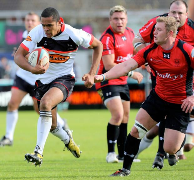 RISING STAR: Zach Kibirige in action for Newcastle Falcons in the British and Irish Cup match against Cross Keys. The Yarm student could feature this weekend