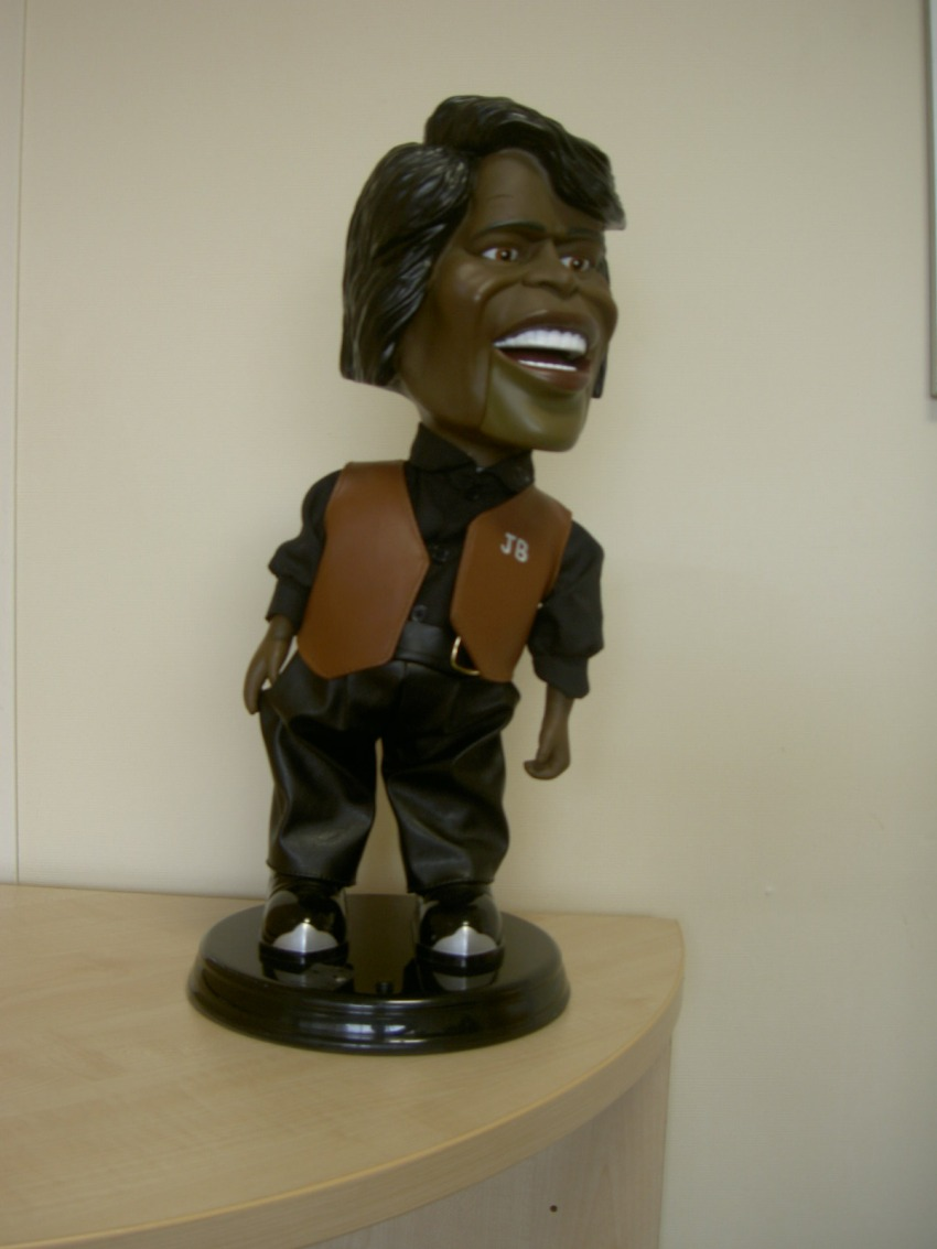 The dancing James Brown doll donated by Jeff Stelling for charity auction