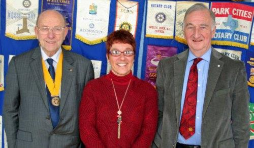 CHILDREN'S TRUST: From left, Rotary Club senior vice president Ken Young, Claire Maddison and Rotary Host David Jowett
