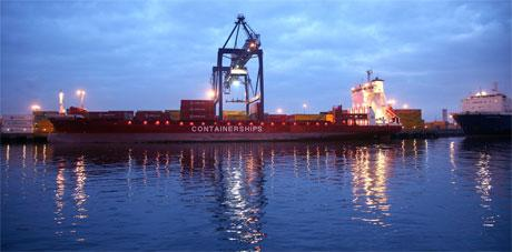 A Containerships vessels docked at Teesport
