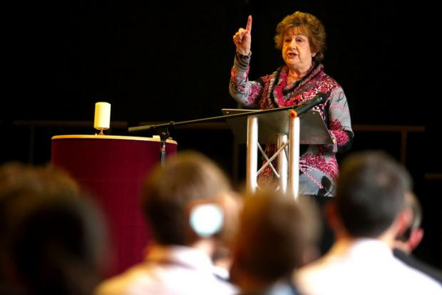 ANNUAL EVENT: Deanna van der Velde, of the Association of Jewish Refugees, speaks at the Holocaust Memorial Day in the Dolphin Centre, Darlington