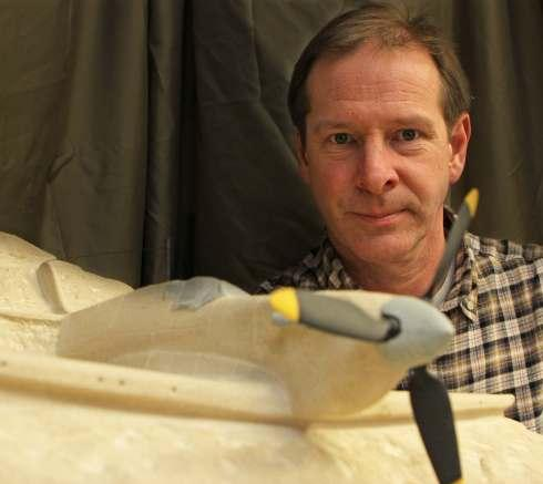 Stonemason David France from Darlington pictured with the Mark I spitfire he has created.