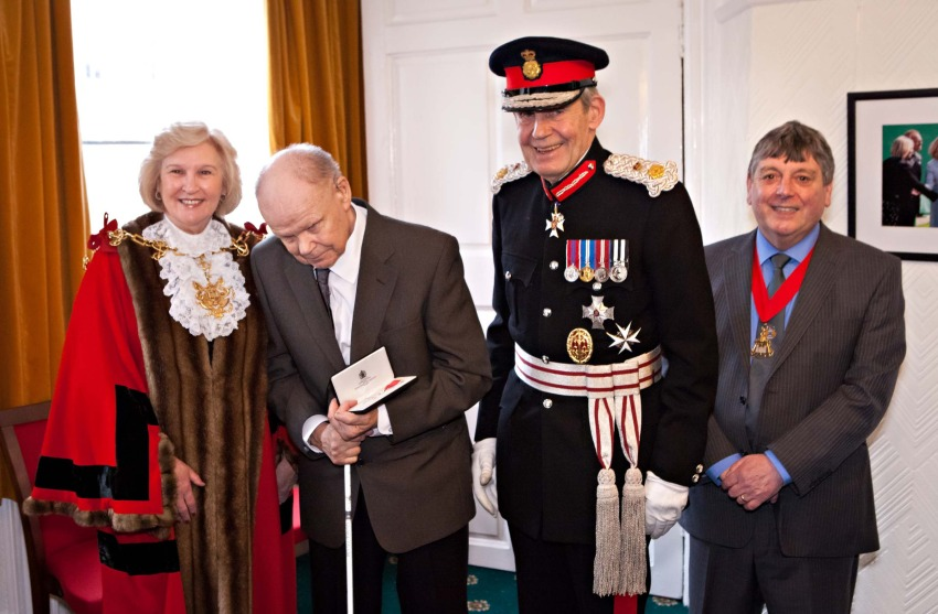 Councillor Lynne Apedaile, Mayor of Stockton, Mr George Glass, Sir Paul Nicholson, Lord-Lieutenant of County Durham, and Maurice Apedaile, Stockton Mayor's Consort.