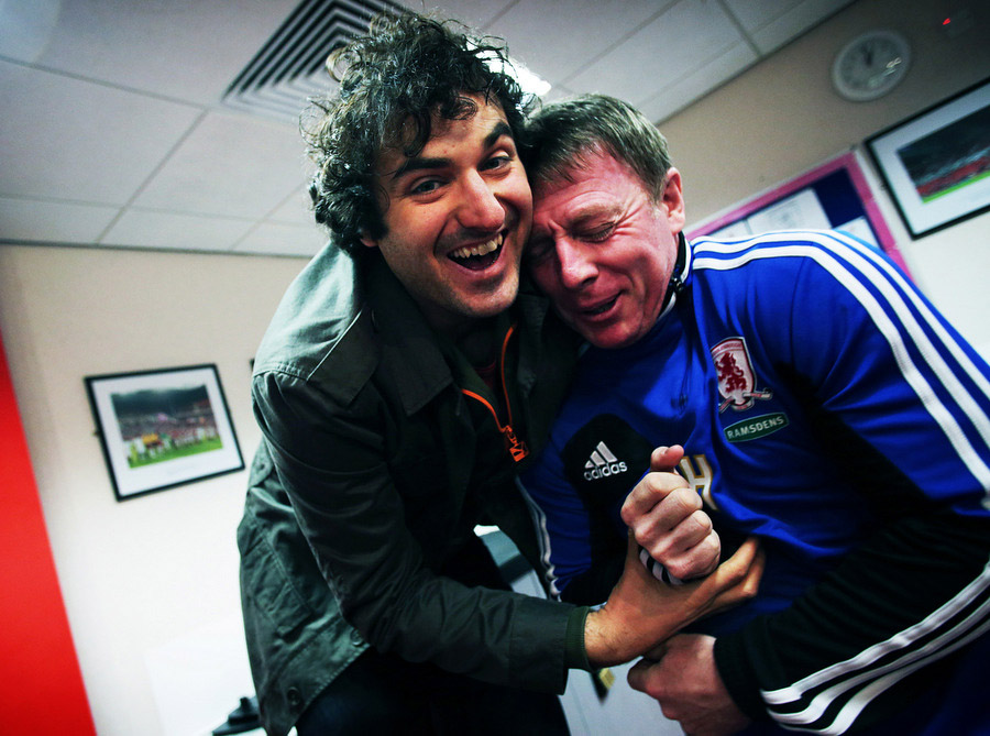 SHARING A JOKE: Patrick Monahan with former player and academy coach, Craig Hignett