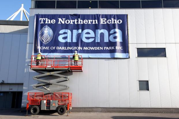 Darlington and Stockton Times: SIGN OF CHANGE: The new sign being put in place prior to Mowden Park's first rugby match at the arena