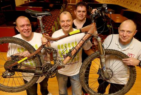 Cyclists Pete Wilson (left), Bob Bell, Paul Simpson and Steve Shepperson (right) plan to tackle Scotland's 7 Stanes mountain bike trail for charity.
