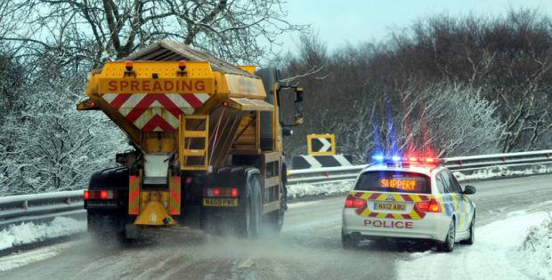 SLIPPERY SURFACE: Heavy snow showers made for difficult driving conditions at Birk Brow, near Guisborough, on Saturday