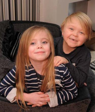 Seven year olds Tegan Ross (left) and Lennox Nicholson, who both underwent life-saving liver transplants as babies are now the best of friends.