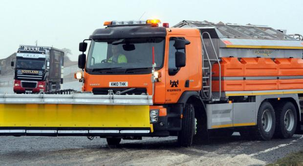 LOOKS FAMILIAR: A Highways Agency gritter on standby on the A66 Trans- Pennine route in County Durham, ahead of the forecasted heavy snowfall