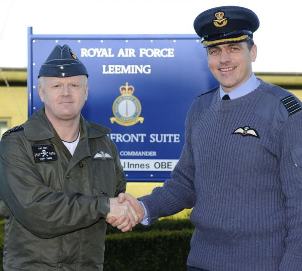 CHANGE: Group Captain Tony Innes, left, handing over to Group Captain Steve Reeves
