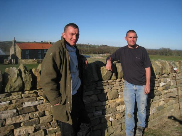SUCCESSFUL: Dale Pattinson, left, and Lee Hope have become dry stone wallers