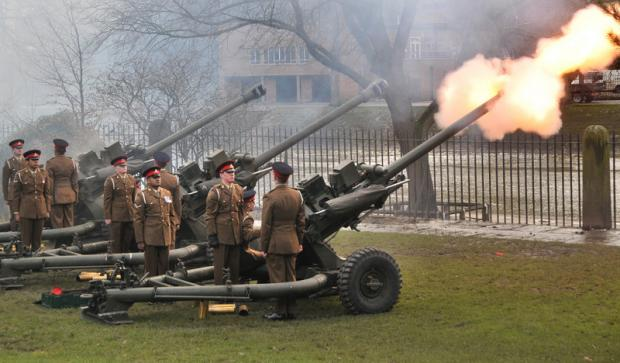 Darlington and Stockton Times: VOLLEY: The 21 Gun salute held in Museum Gardens, York, to mark the 61st anniversary of Her Majesty the Queen's accession to the throne