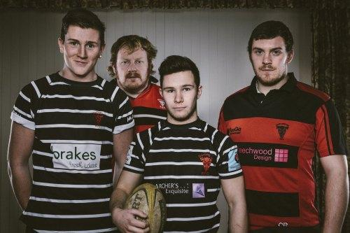 STRONG MESSAGE: Darlington Rugby Club players join the Community Safety Partnerships of County Durham and Darlington  in a campaign to tackle sexual violence, from left: Jack Tulley, Joe Oselton, Arun Keens and Colin Rogers