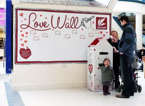 The Love Wall in The Cornmill centre, Darlington